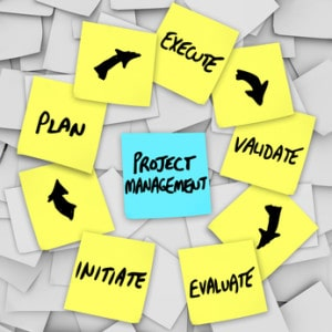 Project Management Workflow Diagram Plan Sticky Notes